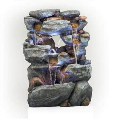 5 Tier Rock Formation Fountain with LED Lights