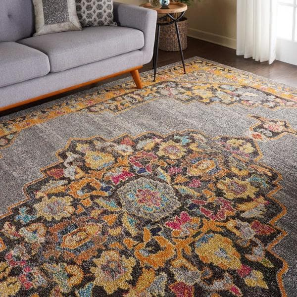Nourison Passionate Grey 9 Ft X 12 Ft Persian Vintage Area Rug 454584 The Home Depot
