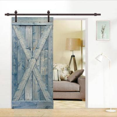 X Series 36 in. x 84 in. Solid Denim Blue Stained Pine Wood Interior Sliding Barn Door with Hardware Kit
