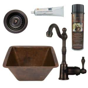 Bronze 16 Gauge Copper 15 in. Dual Mount Square Bar Sink with Faucet and 3.5 in. Strainer Drain