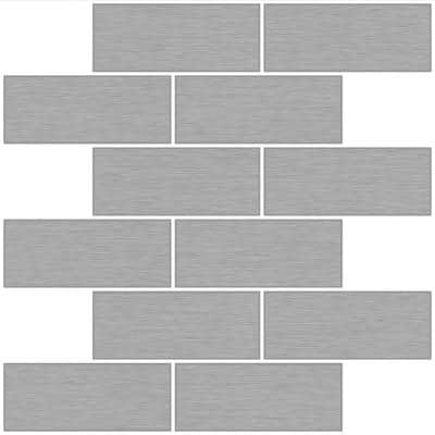 10 in. x 10 in. Metro Brushed Silver Peel and Stick Backsplash Tiles