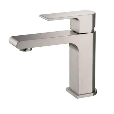 Allaro Single Hole Single-Handle Low-Arc Bathroom Faucet in Brushed Nickel