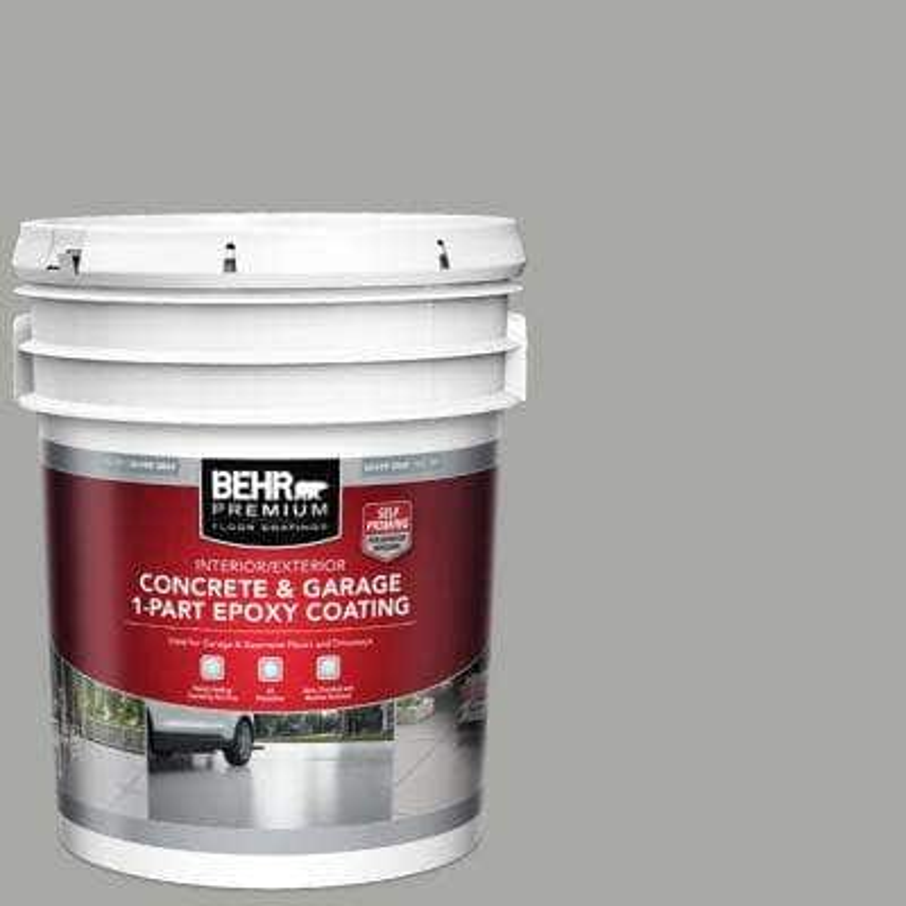 5 gal. #901 Silver Gray Self-Priming 1-Part Epoxy Satin Interior/Exterior Concrete and Garage Floor Paint
