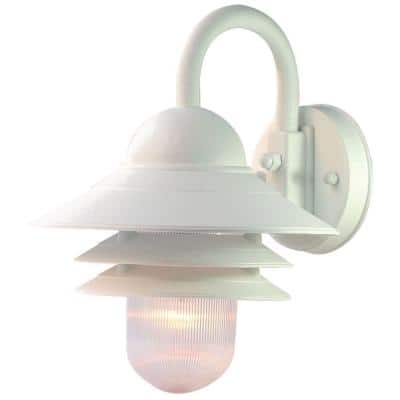 Mariner Collection 1-Light Textured White Outdoor Wall Lantern Sconce