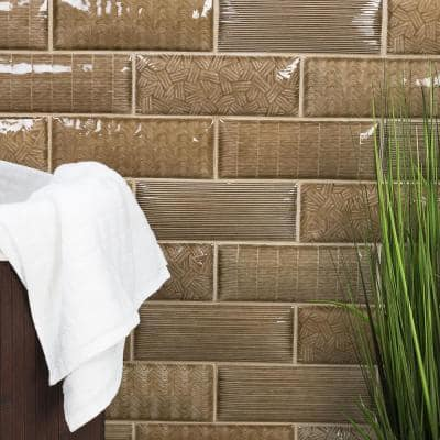 Dallas Pillowed Brown 3 in. x 8 in. 12mm Polished Crackled Ceramic Subway Wall Tile (20-Piece/3.27 sq. ft./Box)