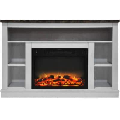 Oxford 47 in. Electric Fireplace with Enhanced Log Insert and White Mantel