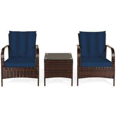Costway Island 3-pc Wicker Patio Conversation Set with Navy Cushions