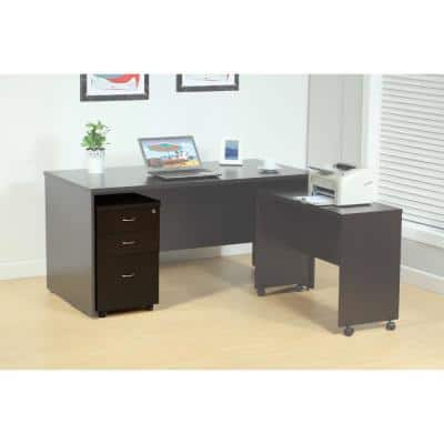 Spacious Brown File Cabinet with 2-Drawers on Metal Glides