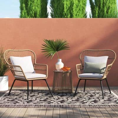 3-Piece Outdoor Wicker Modern Patio Table and 2-Chairs Bistro Set with Beige Cushion