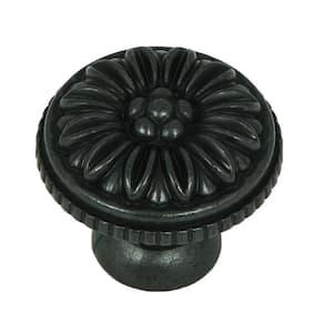 Dahlia 1-3/8 in. Antique Black Round Cabinet Knob (25-Pack)