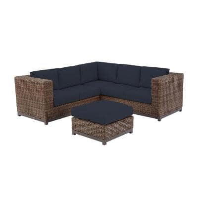 Fernlake 4-Piece Taupe Wicker Outdoor Patio Sectional Sofa with CushionGuard Midnight Navy Blue Cushions