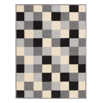 Ottohome Collection Checkered Design Gray 2 ft. 3 in. x 3 ft. Area Rug