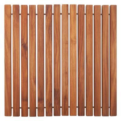 Oiled Brown Teak Indoor and Outdoor Shower/Bath String Mat 19.6 in. x 19.6 in.