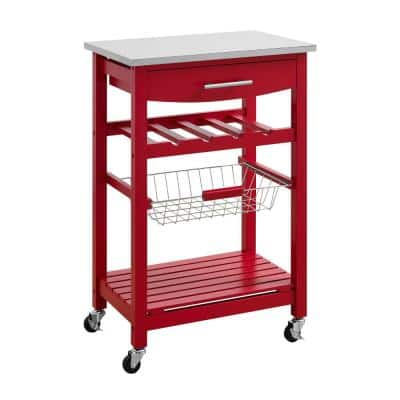 Contemporary Red Kitchen Island with Stainless Steel Top and Casters 15.75 in. L x 22.88 in. W x 33.88 in. H