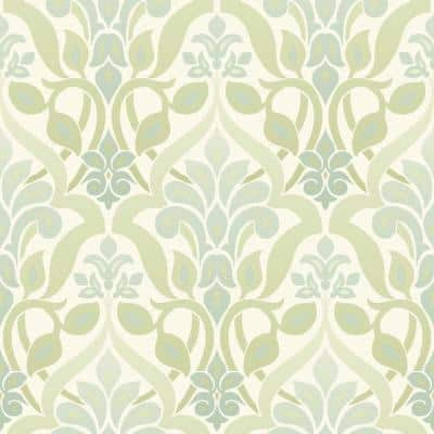 Fusion Green Ombre Damask Strippable Roll Wallpaper (Covers 56 sq. ft.)
