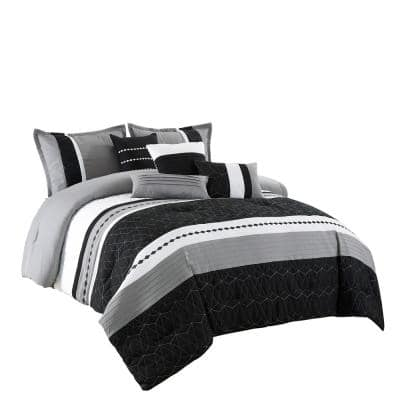 7 Piece Black Microfiber Luxury King Comforter Set