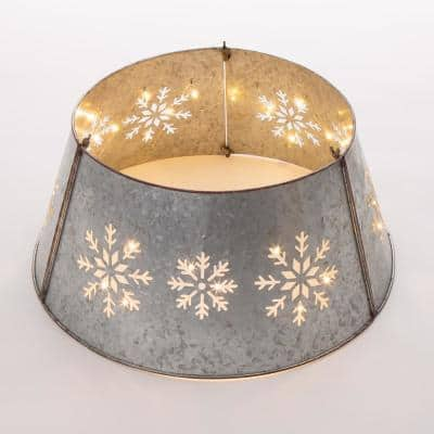 21.65 in. D Snowflake Diecut Metal Tree Collar with Light String (KD)