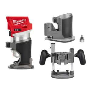M18 FUEL 18-Volt Lithium-Ion Brushless Cordless Compact Router w/ Compact Router Offset Base &Router Plunge Base