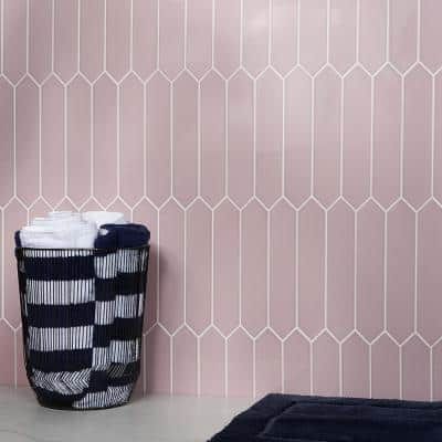 Axis 2.6 in. x 13 in. Pink Polished Elongated Hex Ceramic Wall Tile (12.26 sq. ft. / case)