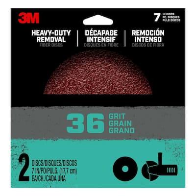 7 in. 36-Grit Heavy-Duty Removal Fiber Disc (Case of 12, 2-Packs)