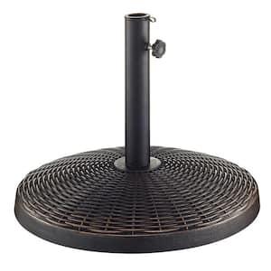 Wicker Style Round Metal Patio Umbrella Base in Antique Bronze