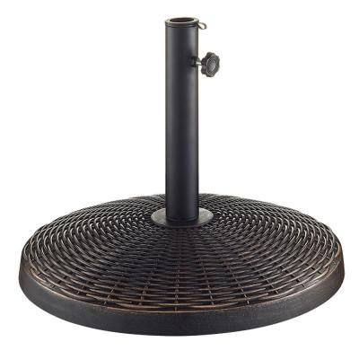Wicker Style Round Metal Patio Umbrella Base in Antique Bronze