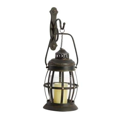 Brown Metal Rustic Candle Wall Sconce