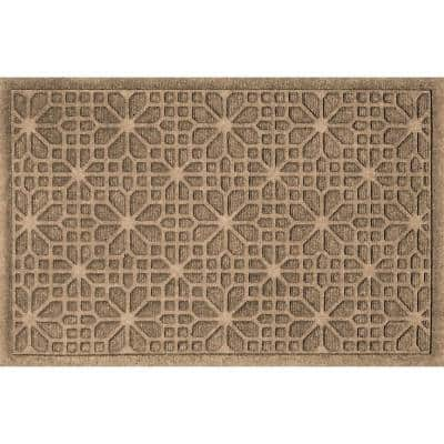 Stained Glass 23 in. x 35 in. PET Polyester Doormat Camel