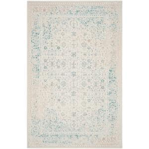 Passion Turquoise/Ivory 9 ft. x 12 ft. Border Area Rug