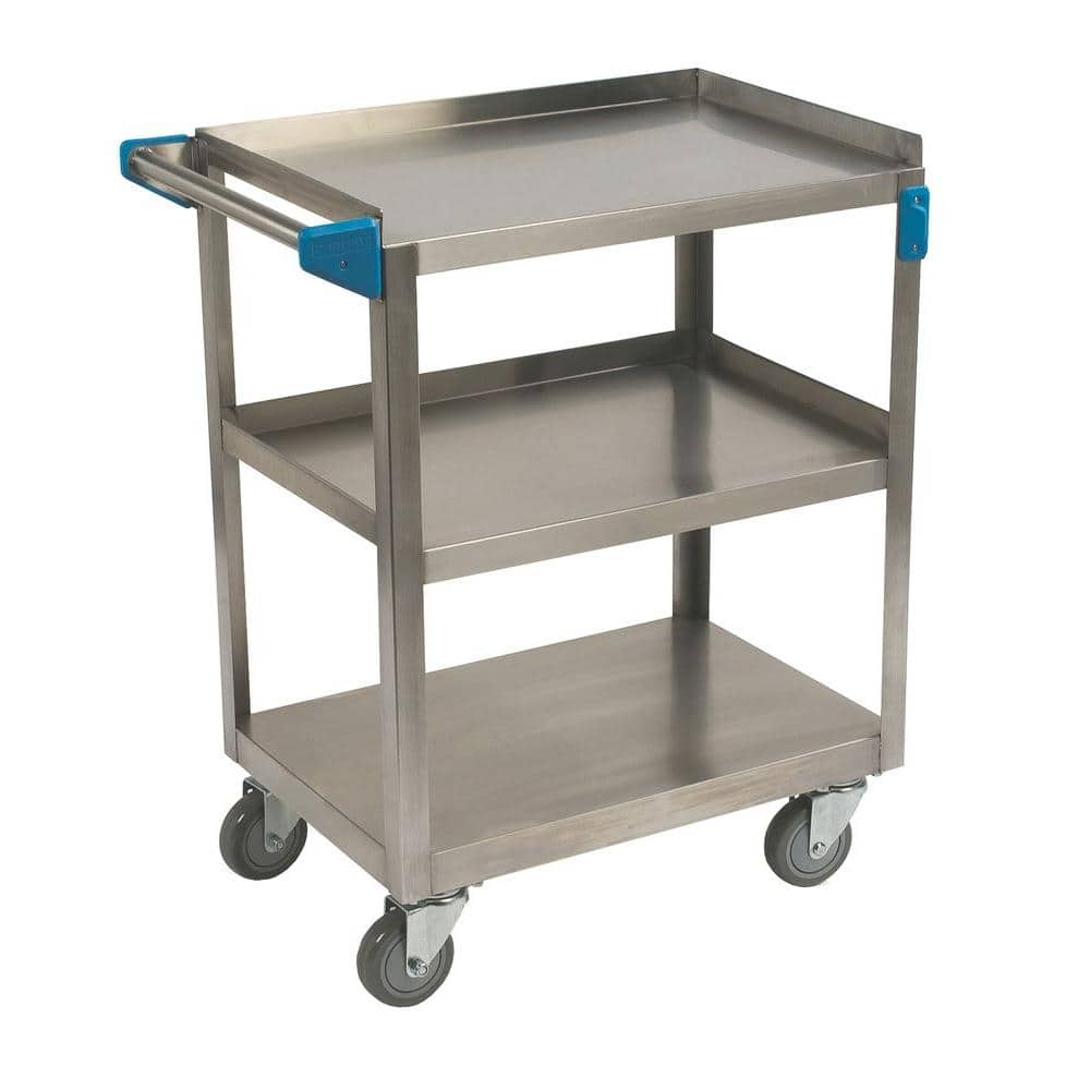 Carlisle 32 5 In H X 15 5 In W X 24 In D Stainless Steel 3 Shelf Utility Cart Uc3031524 The Home Depot
