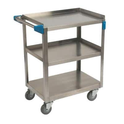 32.5 in. H x 15.5 in. W x 24 in. D Stainless Steel 3-Shelf Utility Cart