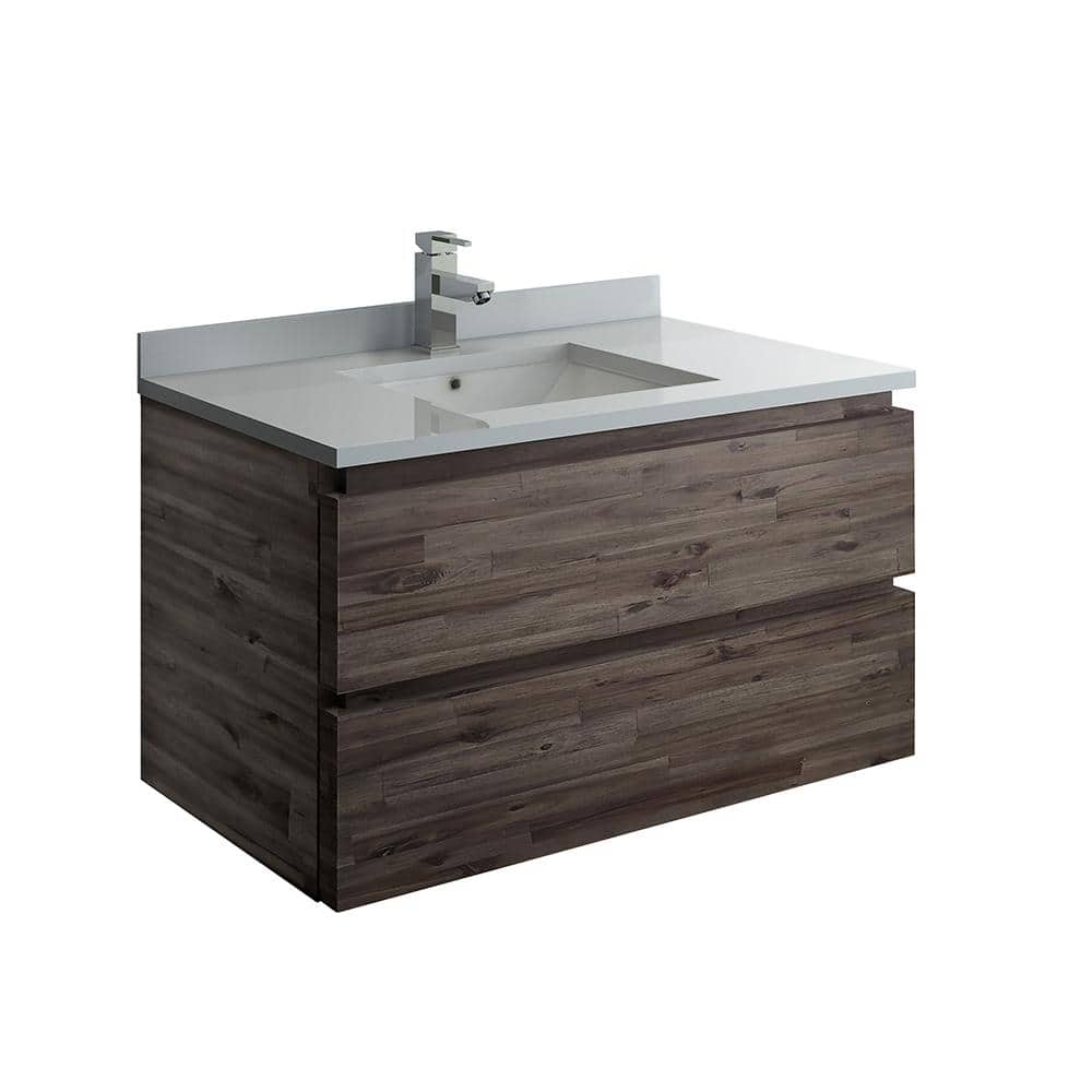 Fresca Formosa 36 In Modern Wall Hung Vanity In Warm Gray With Quartz Stone Vanity Top In White With White Basin Fcb3136aca Cwh U The Home Depot