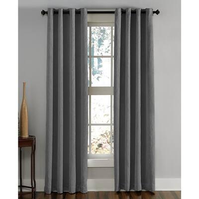 Grey Solid Grommet Room Darkening Curtain - 50 in. W x 108 in. L
