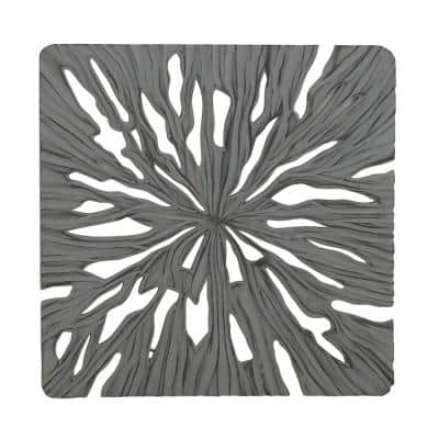 48 in. x 48 in. Rustic Gray Carved Wooden Wall Art
