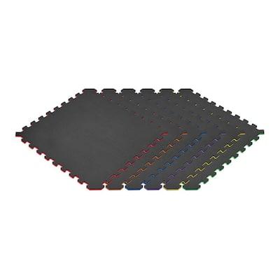 Rainbow Pack/Black 24 in. x 24 in. EVA Foam Truly Reversible Interlocking Tile (24-Tile)