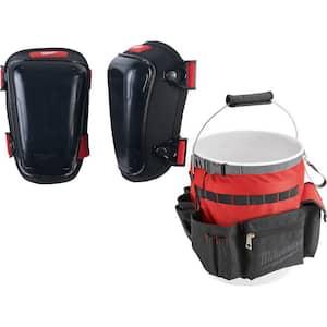 Hard Gel Knee Pads with Bucket Organizer Tool Bag