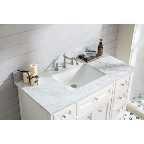 Ari Kitchen And Bath South Bay 43 In Single Bath Vanity In White With Marble Vanity Top In Carrara White With White Basin Akb South 43 Wh The Home Depot