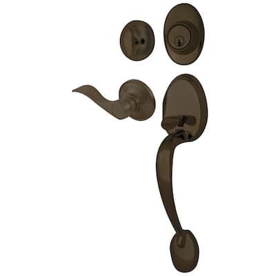Lexington Oil Rubbed Bronze Door Handleset and Single Cylinder Deadbolt