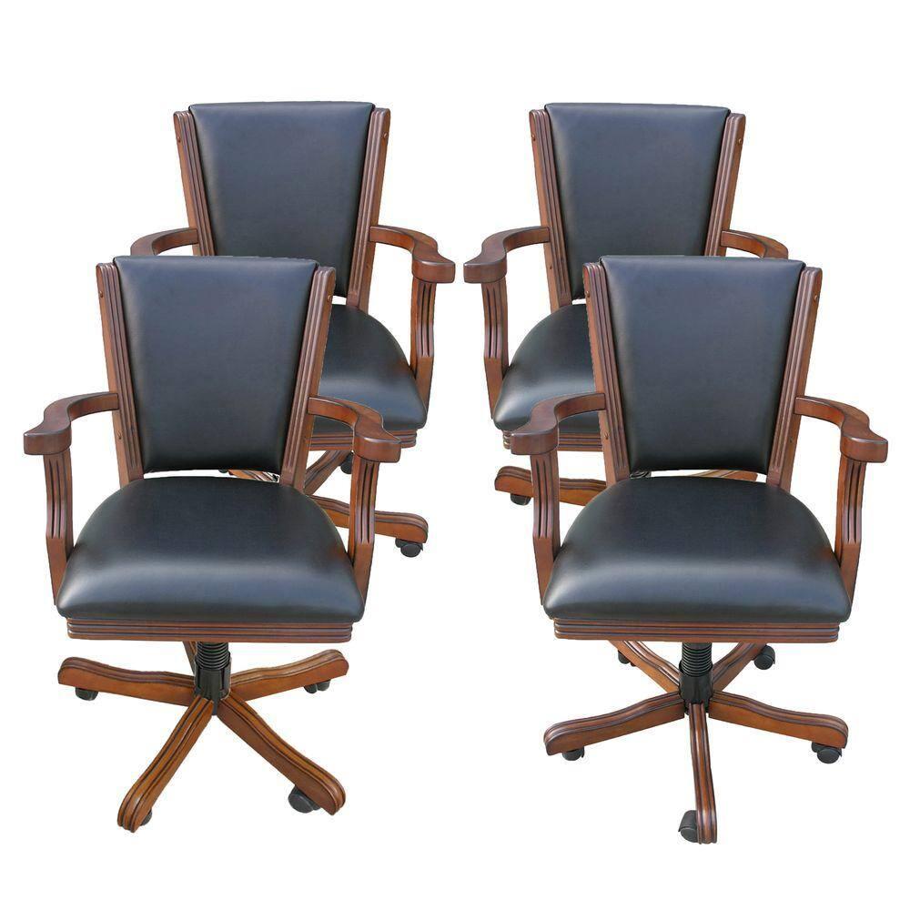 Hathaway Kingston Walnut Poker Table Arm Chair (Set of 4)-BG2366CH
