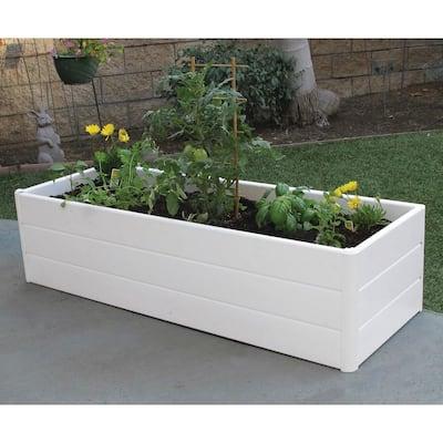 44.5 in. L x 16.5 in. W x 11.5 in. H White PVC Terrace Box Raised Garden Bed