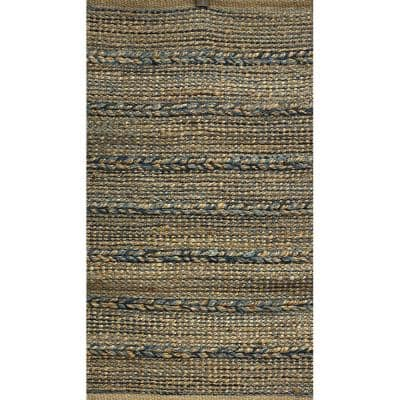 Woven Blue 5 ft. x 7 ft. Braided Natural Jute Area Rug
