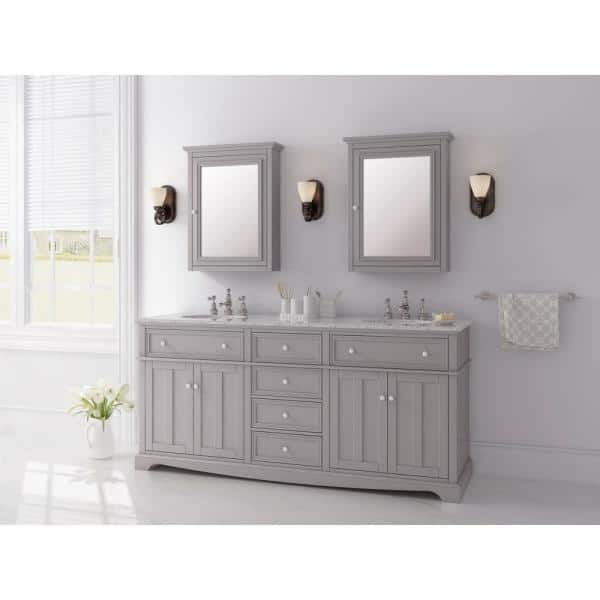 Home Decorators Collection Fremont 72 In W X 22 In D Double Vanity In Grey With Granite Vanity Top In Grey With White Sink Md V1791 The Home Depot
