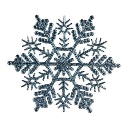 Baby Blue Glitter Snowflake Christmas Ornaments (Pack of 24)