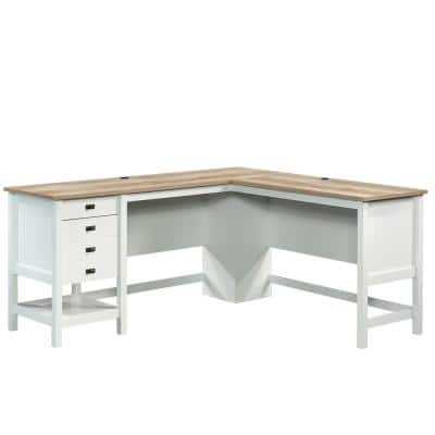Cottage Road 65.118 in. Soft White Engineered Wood L-Shaped Desk