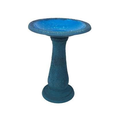 24 in. H x 18 in. W Endura Clay 2-Shade Blue Bird Bath