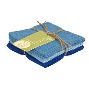 Set of 3 Cotton 10x10 Dishcloths, Sky Blue
