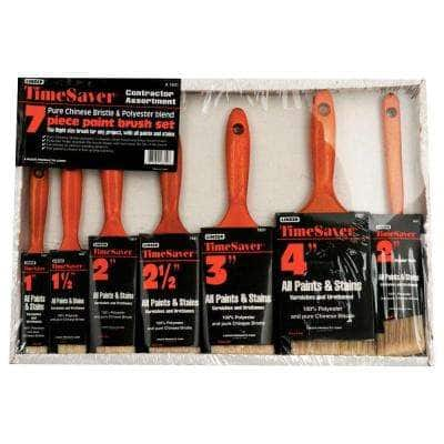 Time Saver 1, 1.5, 2,  2.5, 3  and 4 in. Flat, 2 in. Angled Sash Polyester/Bristle Blend Paint Brush Set