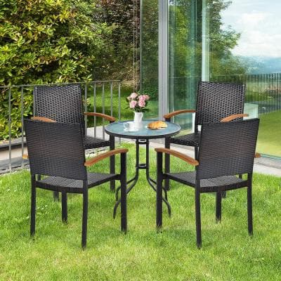 4PCS Stackable Patio Wicker Dining Chair Rattan Armchair Outdoor Yard