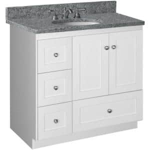 Shaker 36 in. W x 21 in. D x 34.5 in. H Simplicity Vanity with Left Drawers in Satin White