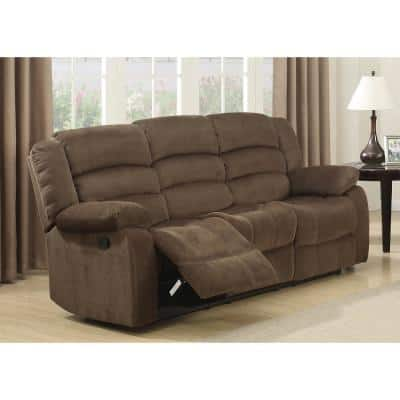 Bill 81 in. Brown Polyester 3-Seater Bridgewater Reclining Sofa with Square Arms